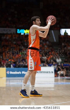 VALENCIA, SPAIN - JUNE 9th: Vives during 4th playoff match between Valencia Basket and Real Madrid at Fonteta Stadium on June 9, 2016 in Valencia, Spain - stock photo