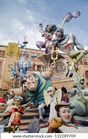 VALENCIA, SPAIN - MARCH 17: A large monument during the Fallas, March 17, 2013 in Valencia, Spain. Fallas is a celebration in which hundreds of sculptures are burnt on Saint Joseph's night. - stock photo