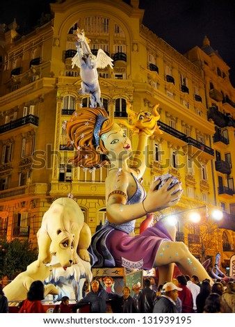 VALENCIA, SPAIN - MARCH 16: Las Fallas, papermache models are displayed during traditional celebration in praise of St Joseph on March 16, 2013, in Valencia, Spain. Celebration is annual. - stock photo