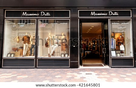 VALENCIA, SPAIN - MARCH 23, 2016. Massimo Dutti store in Valencia. Massimo Dutti is a Italian clothes manufacturing company, part of the Inditex group.