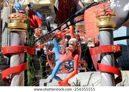 VALENCIA, SPAIN - MARCH 16, 2014: Politician Rubalcaba Spiderman Falla Monument, on March 16, 2014 in Valencia, Spain. It's a Festival of fire, satire, music and firecrackers. - stock photo