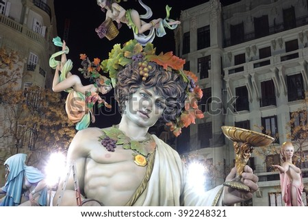 VALENCIA, SPAIN - MARCH 15: Satirical ninots (puppets) on Fallas on march 15, 2016 in Valencia, Spain. Las Fallas is an internationally known fire celebration in praise of Saint Joseph in Valencia - stock photo