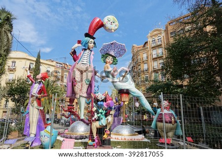 VALENCIA, SPAIN - MARCH 18: Satirical ninots (puppets) on Fallas on march 18, 2016 in Valencia, Spain. Las Fallas is an internationally known fire celebration in praise of Saint Joseph in Valencia - stock photo