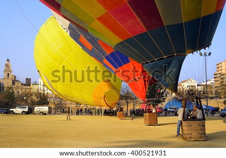 VALENCIA, SPAIN - MARCH 17, 2007: Start hot air balloons in Valencia of Fallas celebration, it is one of the biggest parties in Spain. - stock photo