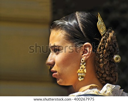 VALENCIA, SPAIN - MARCH 17: Unknown woman, Fallas celebration, one of the biggest parties in Spain where people dresses traditionally, celebration for Saint Joseph on March 17, 2007 in Valencia, Spain - stock photo