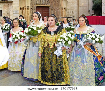 VALENCIA, SPAIN - MARCH 17: Unknown women, Fallas celebration, one of the biggest parties in Spain where people dresses traditionally, celebration for Saint Joseph on March 17, 2007 in Valencia, Spain - stock photo
