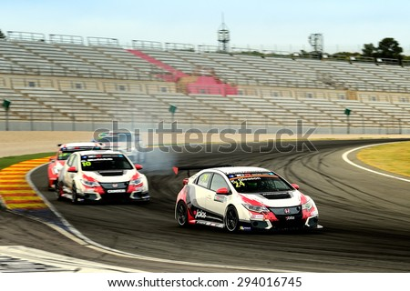 VALENCIA, SPAIN - MAY 2: American driver Kevin Gleason races in a Honda Civic Type R in the TCR International Series, at Ricardo Tormo's Circuit, on May 2, 2015 in Cheste, Spain. - stock photo