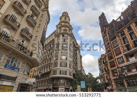 VALENCIA,SPAIN-MAY 27,2014: Classic buildings, street view, Valencia, Spain.