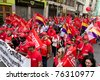 VALENCIA, SPAIN - MAY 1:  Labor Unions take to the streets of Valencia to march against the reduction of worker rights on May 1, 2011 in Valencia, Spain. - stock photo