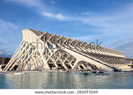 VALENCIA, SPAIN - MAY 24: Prince Philip Science Museum in the City of Arts and Sciences in Valencia. May 24, 2015 in Valencia, Spain - stock photo