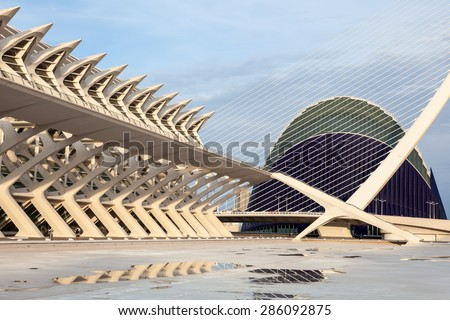 VALENCIA, SPAIN - MAY 24: Prince Philip Science Museumand the Agora in the City of Arts and Sciences in Valencia. May 24, 2015 in Valencia, Spain - stock photo