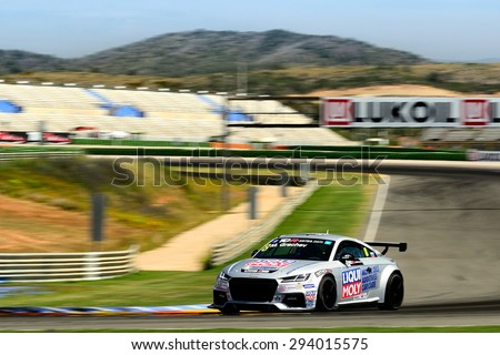 VALENCIA, SPAIN - MAY 2: Russian driver Mikhail Grachev races in a Audi TT in the TCR International Series, at Ricardo Tormo's Circuit, on May 2, 2015 in Cheste, Spain. - stock photo
