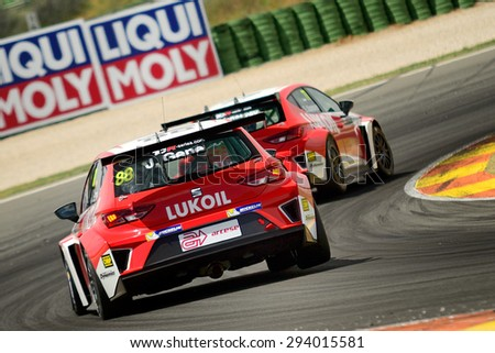 VALENCIA, SPAIN - MAY 2: Spanish driver Jordi Gene races in a  in the TCR International Series, at Ricardo Tormo's Circuit, on May 2, 2015 in Cheste, Spain. - stock photo