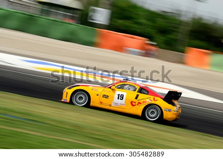 VALENCIA, SPAIN - MAY 2: Team formed by Antonio Castro and Carlos Martinez De Campos races in a Nissan 350Z in the Spanish Endurance Championship, at Ricardo Tormo's Circuit, on May 2, 2015 in Cheste. - stock photo