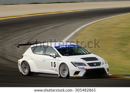 VALENCIA, SPAIN - MAY 2: Team formed by Vicente Dasi and Unai Arruabarrena races in a Seat Leon Cup Racer in the Spanish Endurance Championship, at Ricardo Tormo's Circuit, on May 2, 2015 in Cheste. - stock photo