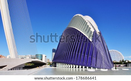 VALENCIA, SPAIN - NOV 12,2013: City architectural detail on view over the City of Arts and Science and Oceanografic Centre   - stock photo