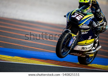 VALENCIA, SPAIN - NOV 13: Isaac Vinales in Moto2 warm up during Motogp Grand Prix of the Comunidad Valencia on November 13, 2016 in Valencia, Spain.