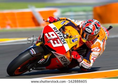 VALENCIA, SPAIN - NOV 10: Marc Marquez during MotoGP Grand Prix of the Comunitat Valenciana on November 10, 2013, Valencia, Spain  - stock photo
