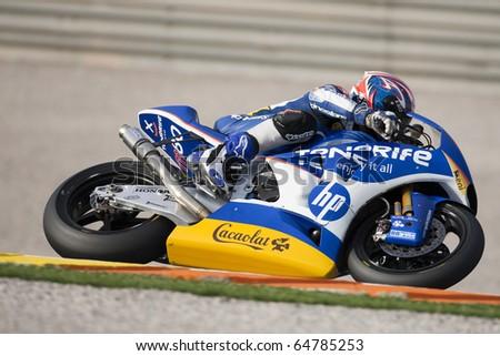 VALENCIA, SPAIN - NOVEMBER 7: Axel Pons in motogp Grand Prix of the Comunitat Valenciana, Ricardo Tormo Circuit of Cheste on November 7, 2010 in Valencia, Spain - stock photo