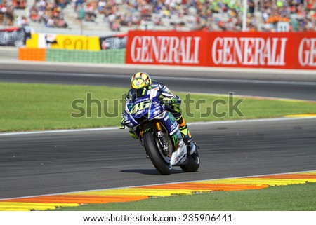 VALENCIA - SPAIN; NOVEMBER 8: Italian rider Valentino Rossi at 2014 Generali MotoGP of Valencia on November 8, 2014