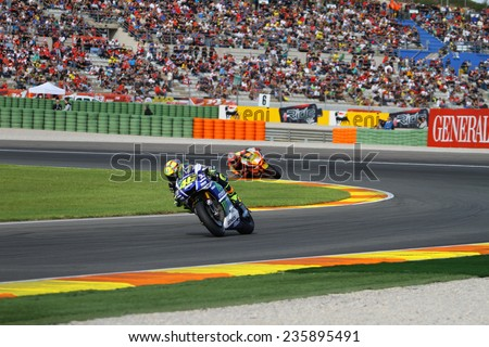 VALENCIA - SPAIN; NOVEMBER 8: Italian Yamaha rider Valentino Rossi at 2014 Generali MotoGP of Valencia on November 8, 2014