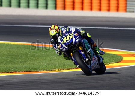 VALENCIA - SPAIN, NOVEMBER 6: Italian Yamaha rider Valentino Rossi at 2015 Motul MotoGP of Valencia on November 6, 2015