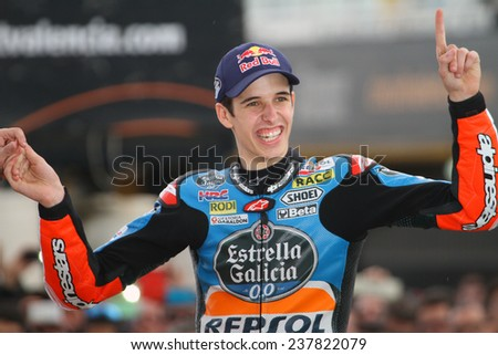 VALENCIA - SPAIN; NOVEMBER 9: Spanish Honda rider Alex Marquez wins the 2014 championship at 2014 Generali MotoGP of Valencia on November 9, 2014