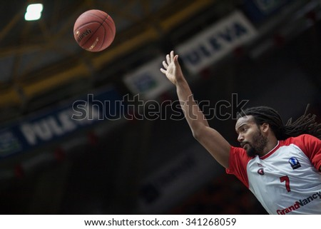 VALENCIA, SPAIN - NOVEMBER 18th: Falker during Eurocup between Valencia Basket Club and Sluc Nancy at Fonteta Stadium on November 18, 2015 in Valencia, Spain - stock photo
