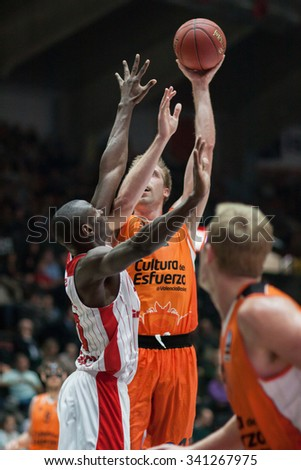 VALENCIA, SPAIN - NOVEMBER 18th: Hamilton with ball during Eurocup between Valencia Basket Club and Sluc Nancy at Fonteta Stadium on November 18, 2015 in Valencia, Spain - stock photo