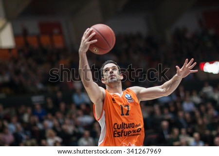 VALENCIA, SPAIN - NOVEMBER 18th: Martinez during Eurocup between Valencia Basket Club and Sluc Nancy at Fonteta Stadium on November 18, 2015 in Valencia, Spain - stock photo