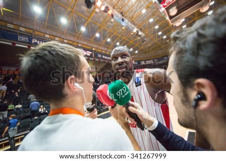 VALENCIA, SPAIN - NOVEMBER 18th: Pietrus (C) during Eurocup between Valencia Basket Club and Sluc Nancy at Fonteta Stadium on November 18, 2015 in Valencia, Spain - stock photo