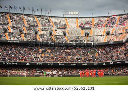 VALENCIA, SPAIN - NOVEMBER 20th: Stadium during La Liga soccer match between Valencia CF and Granada CF at Mestalla Stadium on November 20, 2016 in Valencia, Spain