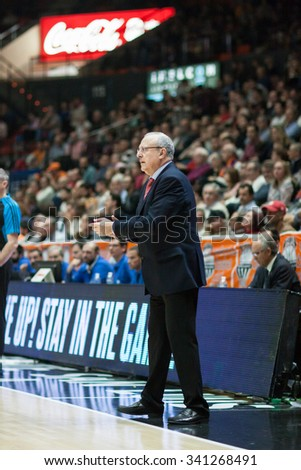 VALENCIA, SPAIN - NOVEMBER 18th: Weisz during Eurocup between Valencia Basket Club and Sluc Nancy at Fonteta Stadium on November 18, 2015 in Valencia, Spain - stock photo