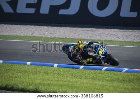VALENCIA, SPAIN - NOVEMBER 6: Valentino Rossi during Valencia MotoGP 2015 at Ricardo Tormo Circuit on November 6, 2015 in Valencia, Spain