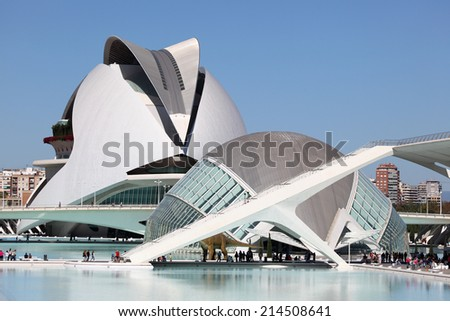 VALENCIA, SPAIN - OCT 9: L'Hemisferic and El Palau de les Arts Reina Sofia in the City of Arts and Sciences. October 9, 2011 in Valencia, Spain - stock photo