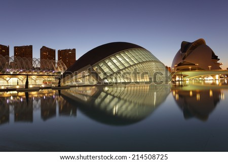 VALENCIA, SPAIN - OCT 8: L'Hemisferic in the City of Arts and Sciences at night. October 8, 2011 in Valencia, Spain - stock photo