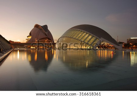 VALENCIA, SPAIN - OCTOBER 07, 2014: El Palau de les Arts Reina Sofia and  L'Hemisferic in the City of Arts and Sciences (Ciudad de las artes y las ciencias) in Valencia, Spain - stock photo