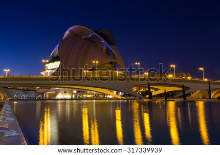 VALENCIA, SPAIN - OCTOBER 07, 2014: El Palau de les Arts Reina Sofia in the City of Arts and Sciences (Ciudad de las artes y las ciencias) in Valencia, Spain - stock photo