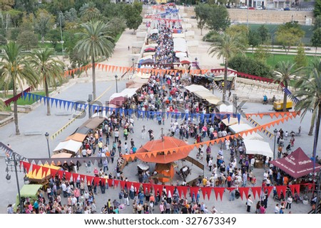 VALENCIA, SPAIN - OCTOBER 12, 2015: Overhead view of the Valencia Medieval Market in Valencia, Spain. This is the first year for this type of outdoor market in the center of Valencia. - stock photo