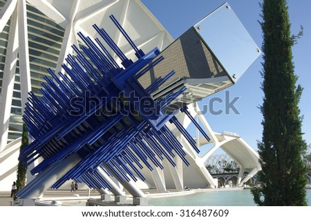VALENCIA, SPAIN - OCTOBER 07, 2014: Prince Philip Science Museum and  in the City of Arts and Sciences (Ciudad de las artes y las ciencias) in Valencia, Spain - stock photo