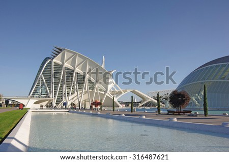 VALENCIA, SPAIN - OCTOBER 07, 2014:Prince Philip Science Museum and L'Hemisferic in the City of Arts and Sciences (Ciudad de las artes y las ciencias) in Valencia, Spain - stock photo