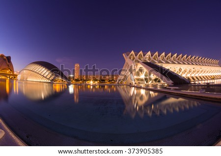 VALENCIA, SPAIN - OCTOBER 07, 2014: Prince Philip Science Museum and L'Hemisferic in the City of Arts and Sciences (Ciudad de las artes y las ciencias) in Valencia, Spain - stock photo
