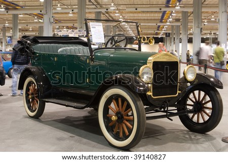 VALENCIA, SPAIN - OCTOBER 16 : Restored 1926 Ford Model T Cabriolet on display at the 2009 Motor Epoca Classic Car Show on October 16, 2009 in Valencia, Spain. - stock photo