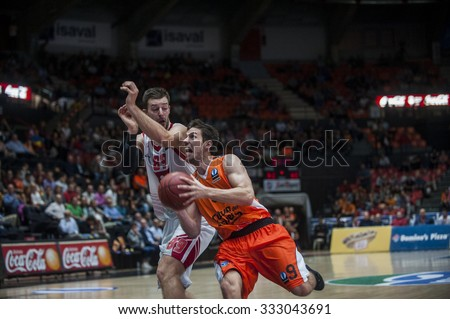 VALENCIA, SPAIN - OCTOBER 20: Stevan Jelovac and Sam Van Brossom during EUROCUP match between Valencia Basket Club and CAI Zaragozaat Fonteta Stadium on   October 20, 2015 in Valencia, Spain