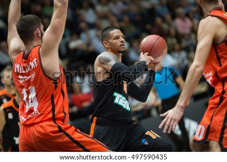 VALENCIA, SPAIN - OCTOBER 12th: Chris Babb with ball during Eurocup match between Valencia Basket and Ratiopharm Ulm at Fonteta Stadium on October 12, 2016 in Valencia, Spain