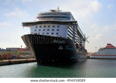 VALENCIA, SPAIN - october 02. The big cruise ship MEIN SCHIFF 5 waits docked for leave Valencia harbor, on October 02, 2016 in Valencia.