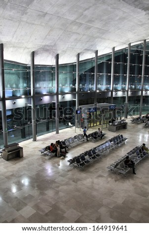 VALENCIA, SPAIN - OCTOBER 10: Valencia Airport interior on October 10, 2010 in Valencia, Spain. With 4.9m pax in 2010 it was the 10th busiest airport in Spain and 73rd busiest airport in Europe. - stock photo