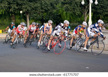 VALENCIA, SPAIN - SEPT 26: Riders participate in the XI City of Valencia Cycling Event on September 26, 2010 in Valencia, Spain. - stock photo