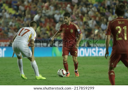 Valencia, Spain, September 8, 2014: Isco during UEFA EURO 2016 Group C European Qualifiers game between Spain and FYR Macedonia at Estadio Ciutat de Valencia on September 8, 2014 in Valencia, Spain - stock photo