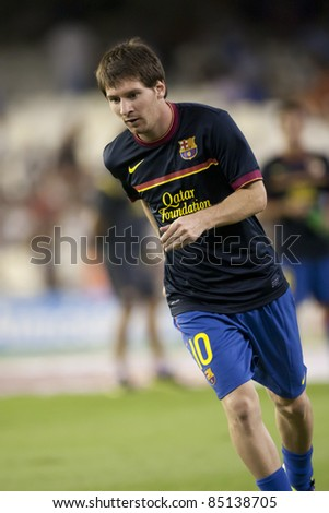 VALENCIA, SPAIN - SEPTEMBER 21 : Messi in the Spanish Soccer League between Valencia C.F. vs F.C. Barcelona - Mestalla Luis Casanova Stadium - Spain on September 21, 2011 - stock photo
